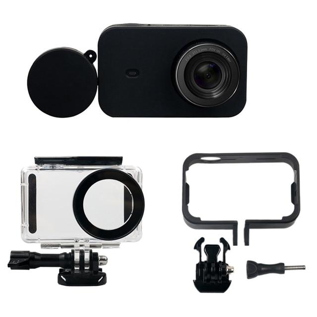 RISE Kit daccessoires pour appareil photo 6 en 1 boîtier étanche + cadre de protection latérale + coque en Silicone + étui de protection dobjectif pour x iao mi Jia Mi ni 4K