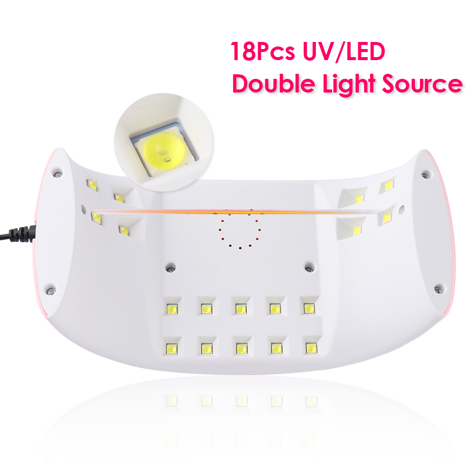 54W UV LED Lamp for Manicure Nail Dryer Machine Pink Bow Lamp For Curing Poly Gel Polish 18leds Sunlight Nail Tools