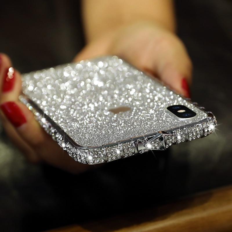 Блестящий бриллиантовый металлический чехол-бампер для iPhone 11 12 Mini Pro X XR XS Max 8 7 6 с симпатичным рисунком с плавно меняющимся цветом со стразам...