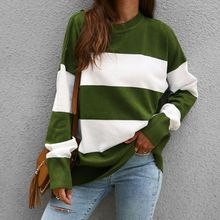 2019 Autumn Women Striped Harajuku Knitted Sweater Pullover Casual Long Sleeve oversized sweaters Loose O-Neck Jumper pull femme цена 2017