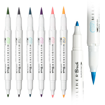 MildLiner Double Headed Highlighter Soft Brush Painting Drawing Pen Color Marker Pen Office School Supplies Japanese Stationery