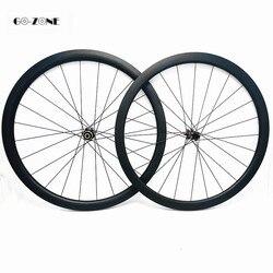 Zestaw kół rowerowych drogowych 50x25mm clincher lub rurowy dysk węgla koła jezdne 100x12 142x12 lub QR rodas carbono 700c filar 1423 szprychy|Koła roweru|Sport i rozrywka -