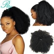 Riya волосы на шнурке афро кудрявые конский хвост человеческие волосы бразильские клипсы в Remy волосы для наращивания конский хвост для черны...
