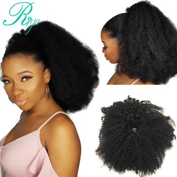 Riya włosy sznurkiem Afro perwersyjne kręcone kucyk ludzki włos brazylijski klipy w doczepy z włosów typu Remy koński ogon dla czarnych kobiet tanie i dobre opinie Remy włosy 100 g sztuka Ciemniejszy kolor tylko Clip-in Pure color Brazylijski włosy