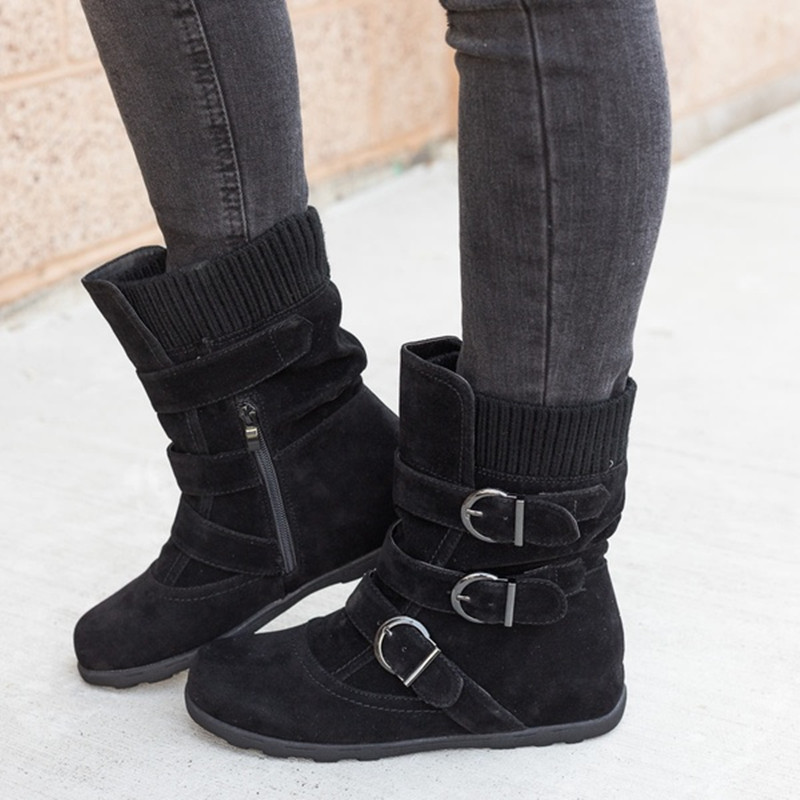 Woman boots Plus Size 43 winter boots woman 2019 Boots Rubber Non slip Snow boots Belt buckle Ankle boots for women 19