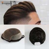 Eversoyeux cheveux humains postiches durables dentelle mince système de remplacement d'unité centrale pour les hommes Toupees cheveux humains postiches durables dentelle et unité centrale