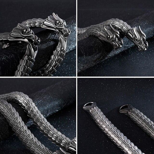 Fongten Dragon lien chaîne Bracelet hommes motard Viking acier inoxydable Punk hommes vieux métal Vintage bracelets bijoux cadeau 2020 3