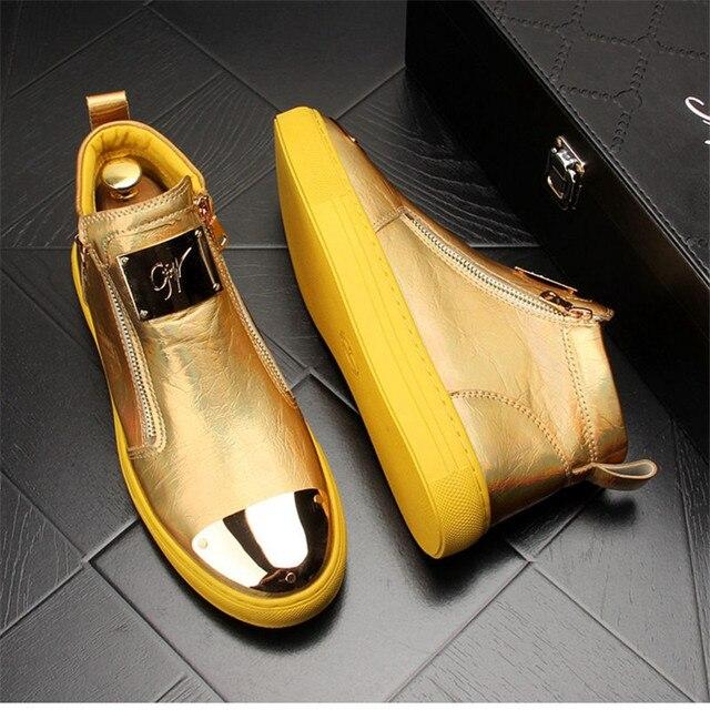 Zapatillas de cuero dorado para Hombre, zapatos informales Punk, Hip Hop, botines planos con cremallera 5