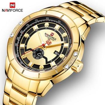 NAVIFORCE 9165 Men Steel Strap Gold Watch Mens Quartz Clock Date Sport Waterproof Wrist Watches with box