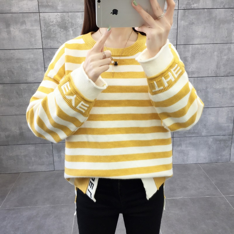 2019 Autumn And Winter New Sweater Student Fashion Round Neck Long Sleeve Striped Wide Hooded Bottom Knitting