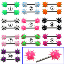 2Pcs Silicone Ball Nipple Bar Rings  Women Surgical Steel Body Piercing Jewelry 14 Gauge Punk Ring Barbell