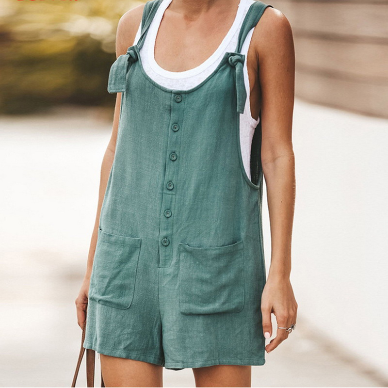 Adisputent 2020 Summer Jumpsuit Women Romper Cotton And Linen Sleeveless Suspender Buttons Pocket Shorts Casual Loose Suspenders