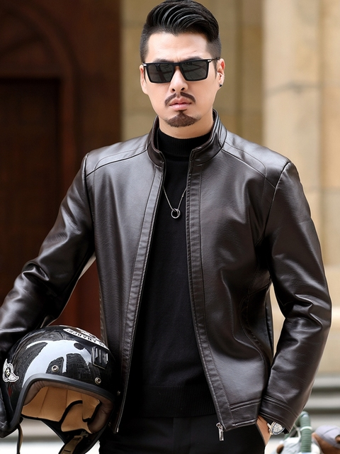Fall 2021 New Suit Leather Jacket Business Fashion Men's Jacket Men's Slim Fit Leather leather jacket Leather suit for men 6