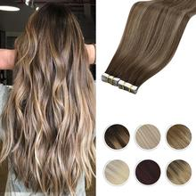 Moresoo Tape in Hair Extensions Balayage Ombre Machine Remy Real Human Hair for Women Invisible Seamless PU Skin Weft Straight