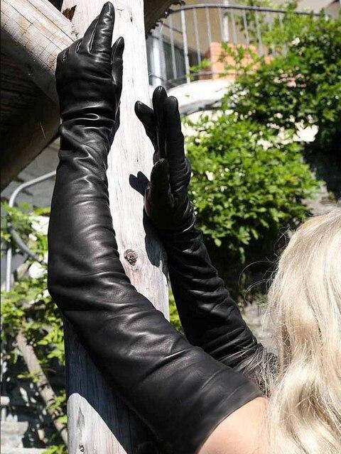 Gants en cuir de mouton véritable pour dames, très longues, sur lépaule, noir