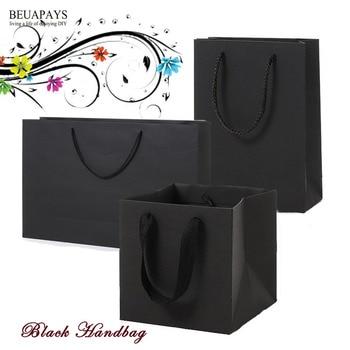 free shipping 50pcs black paper handbag horizontal vertical baby christmas bag festival party favors home decoration wedding box