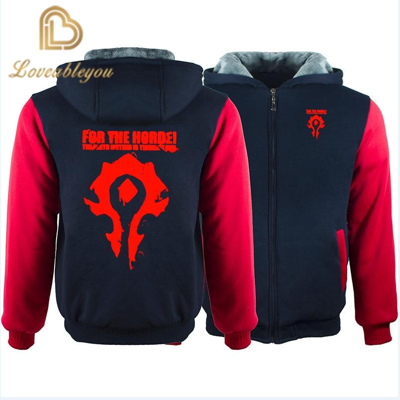 WOW World Of Warcraft Hoodies Men Zipper Streetwear Hip Hop Warm Sweatshirts Casual Hoodie Hooded For Kids