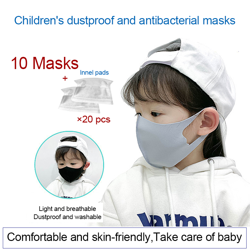 10PCS For Children's Face Masks Girls Boys Mascarilla Dustproof Breathable Washable Mouth Masks 3-11 Year Baby