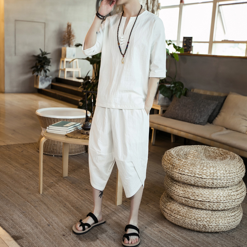 Chinese-style Flax Solid Color Three-quarter-length Sleeve Frog T-shirt Suit Capri Pants Men's Youth Set