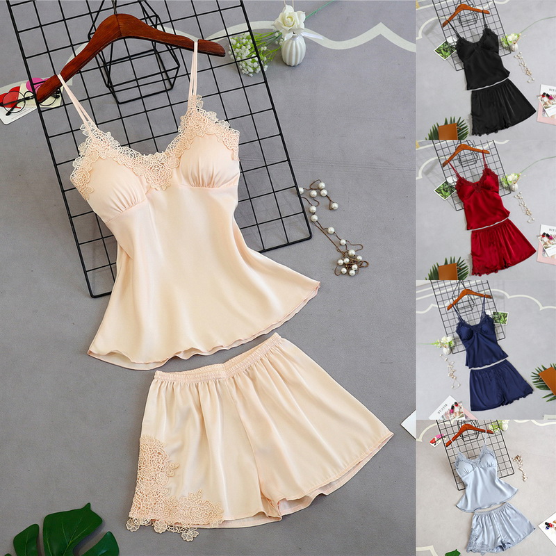 Women Silk-Like Pyjamas Casual Lace Suspenders Sexy Nightdress Sleepwear Pants Short Sleeve Two-piece Suit Plus Size