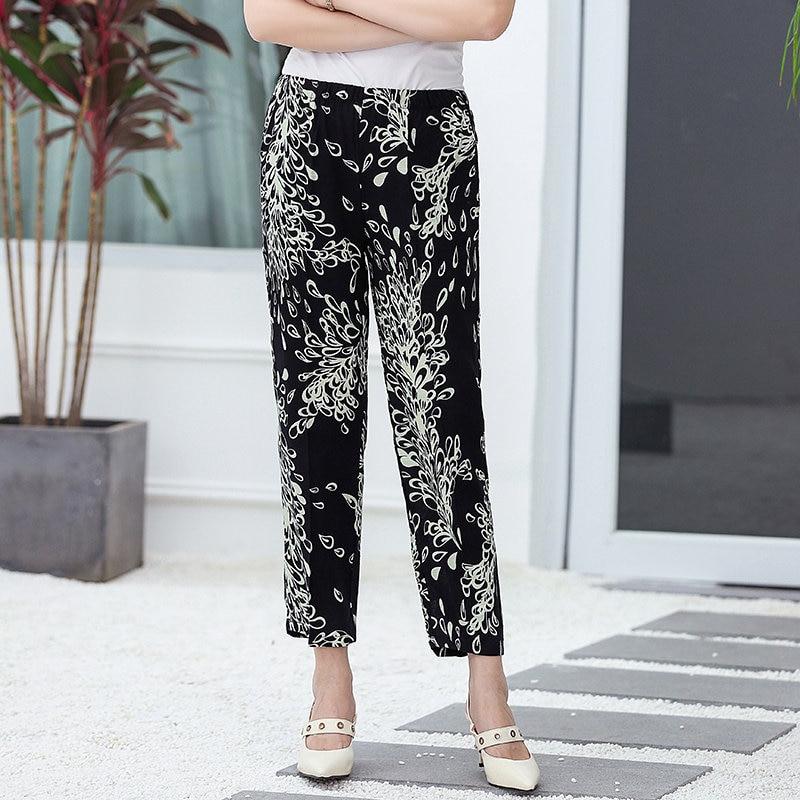 22 Colors 2020 Women Summer Casual Pencil Pants XL-5XL Plus Size High Waist Pants Printed Elastic Waist Middle Aged Women Pants 15