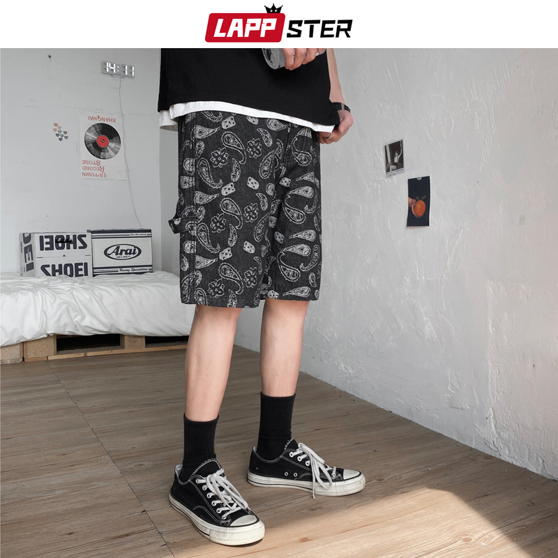 LAPPSTER Summer Embroidery Black Jean Shorts Mens 2020 Cotton Streetwear Hip Hop Blue Denim Shorts Korean Shorts Plus Size 5XL image