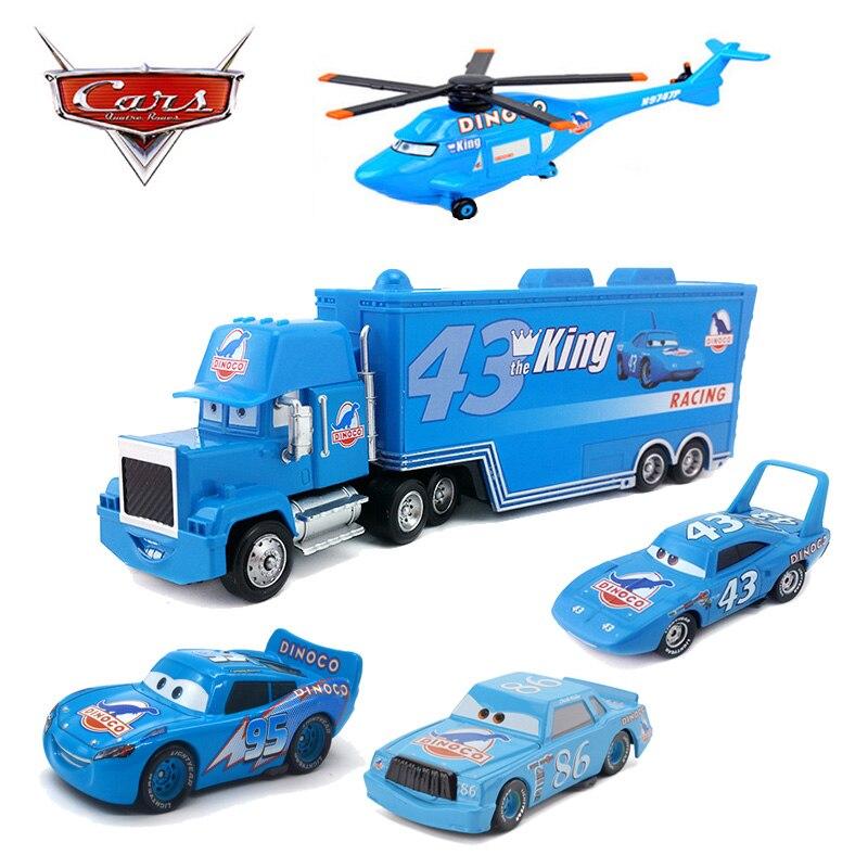 Conjunto de carros de brinquedo, disney pixar carros 2 3, dinossauro azul, dinossauro, king lightning mcqueen, helicóptero 155, de metal, brinquedos para meninos veículos