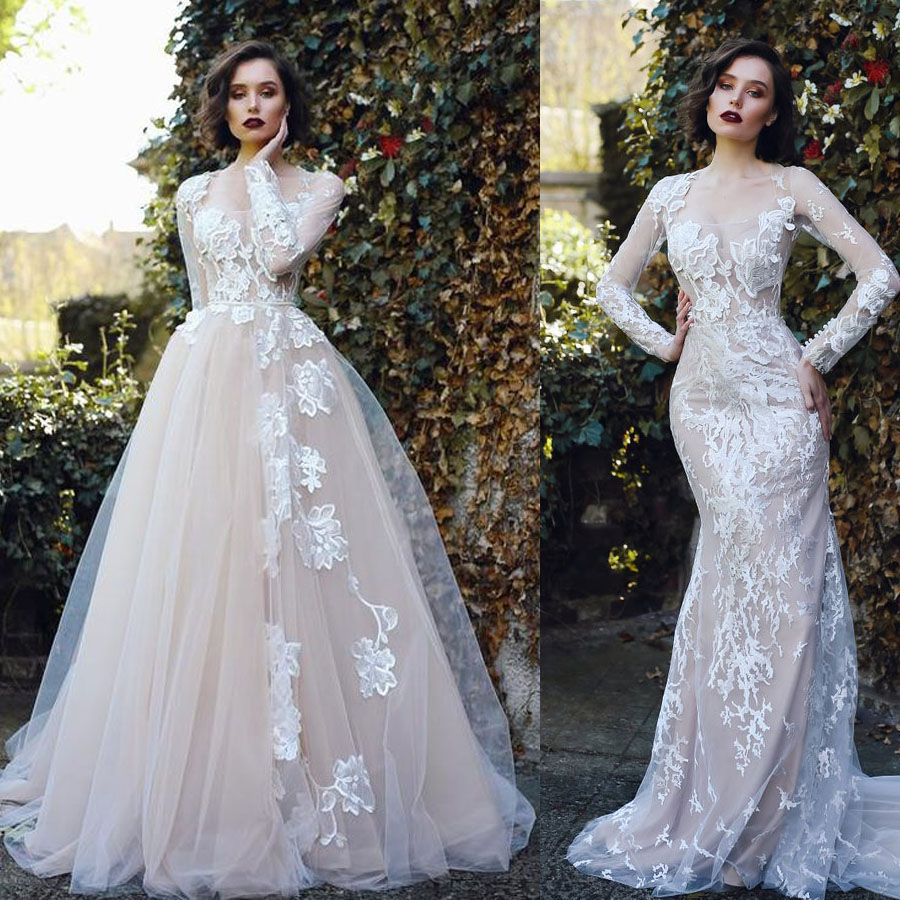 Two Pieces Illusion Tulle Flowers Mermaid Wedding Dress With Lace Applique Button Back Sweep Train Detachable Skirt Bridal Dress