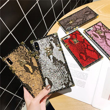 Square case phone for iphone 8 plus sequin snake skin funda 7 6 s xr xs max luxury design coque