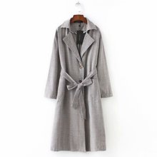 Mooirue Women Vintage Plaid Trench Coat With Sashes Straight Casual Harajuku Streetwear Cardigan Korean Style Long