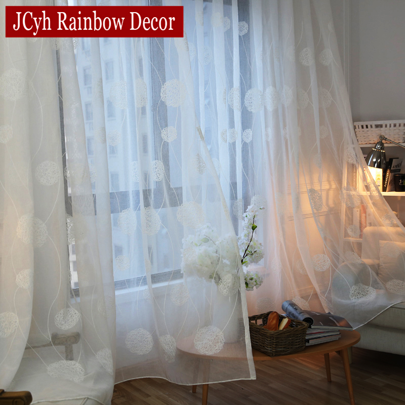 Modern White Embroidered Net Sheer Curtains For Living Room Bedroom Tulle Curtains On Window Voile Curtains Drapes Gordijnen
