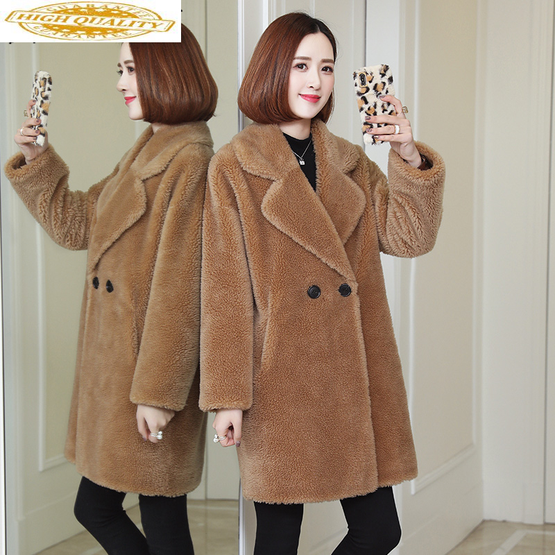 2020 Fashion Women's Fur Coat Winter Jacket Women Clothing Natural Sheep Shearing Fur Coats Long Warm Wool Jackets A958