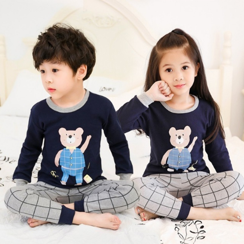 2019 Children   Pajamas   Clothing   Set   Boys & Girls Cartoon Sleepwear Suit Kids Long-sleeved+pant 2-piece Cartoon Pijamas 2-14 Years