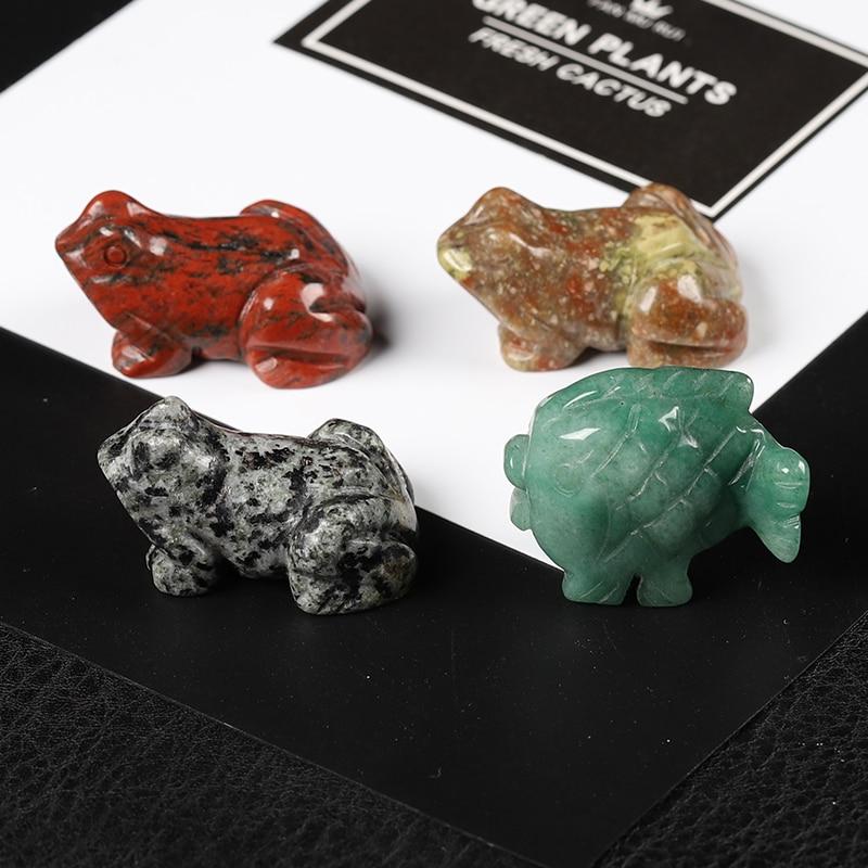 1 шт. натуральный кристалл, лягушка, животное, ручная работа, Хрустальная резьба лягушка, скульптура рыбы, украшение, домашний аквариум, худо...