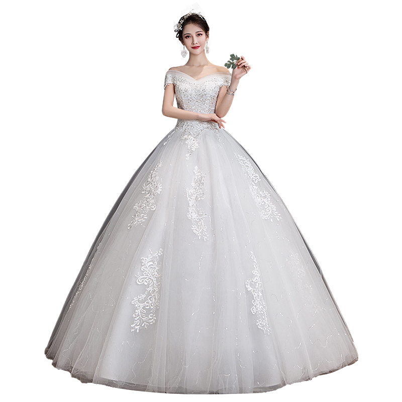 Luxury Wedding Dress New Bridal Dress Ball Gowns Embroiery Dream Simple Satin Wedding Dresses Lace Up Vestido De Noiva