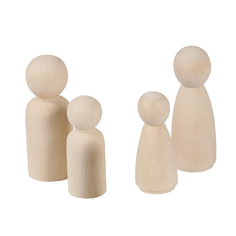 20 Pcs Natural Female Kids Toy Wooden Doll Male Hard Paint Educational Peg Unfinished