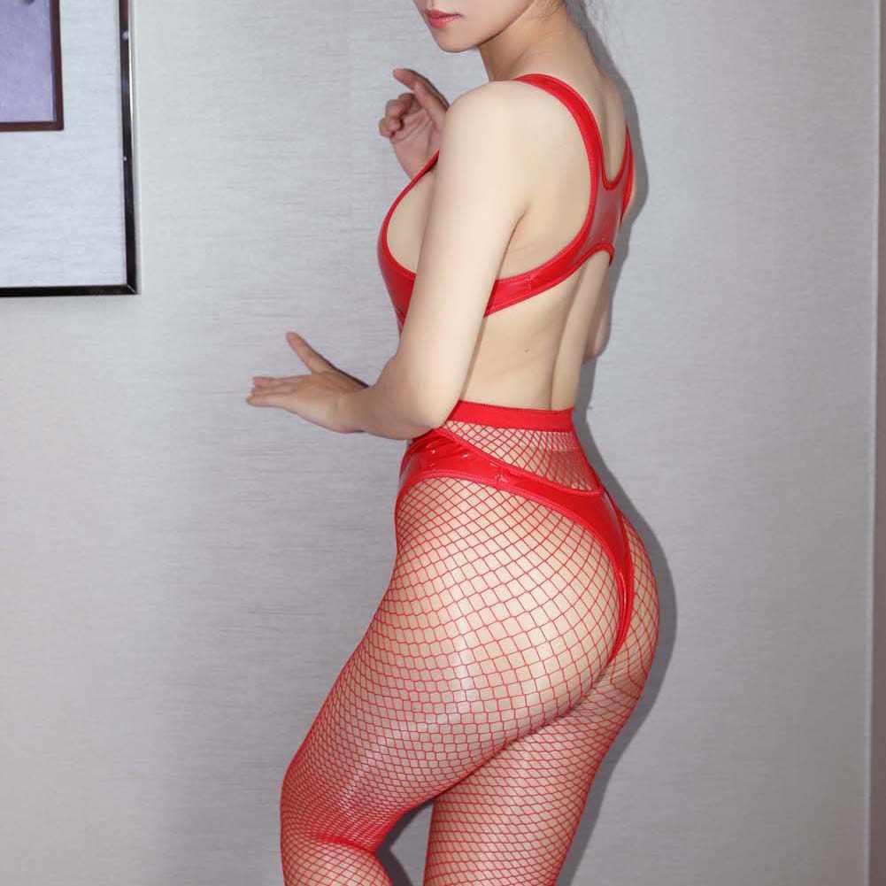 Seks Erotis Kostum Baju Tidur Wanita Seksi Tanpa Lengan Backless Pu Kulit Lateks Perban Bodysuit
