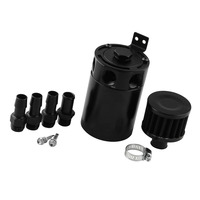 3-Port Universal Aluminum Alloy Baffled Oil Catch Can/Tank/Air-Oil Separator with 1 Inlets 3 Outlet--Black
