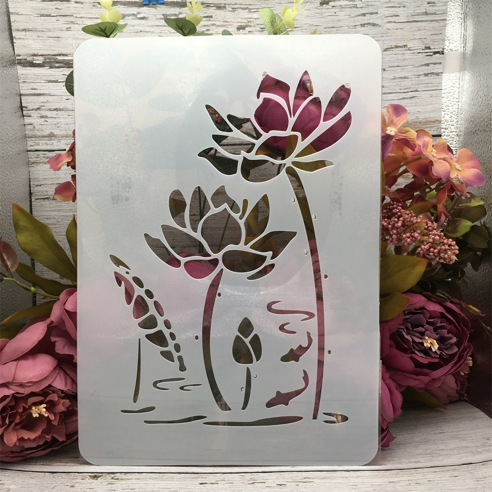 29*21cm A4 Lotus Flower Pond DIY Layering Stencils Wall Painting Scrapbook Coloring Embossing Album Decorative Template