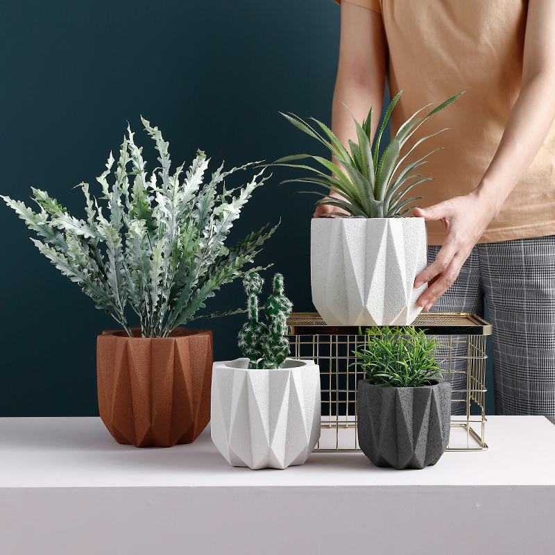 Cement Flowerpot Mould Nordic Style Simple Creative Potted Mould  Plant Pot Scrub Effect  Garden Decorative Pot Silicone Mold