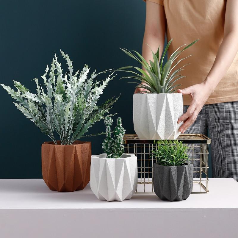 Cement Flowerpot Mould Nordic Style Simple Creative Potted Mould  Plant Pot Scrub Effect  Garden Decorative Pot Silicone Mold