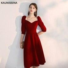 Homecoming-Gown Party-Dresses KAUNISSINA Knee-Length Elegant Women Half Sweetheart Vestidos