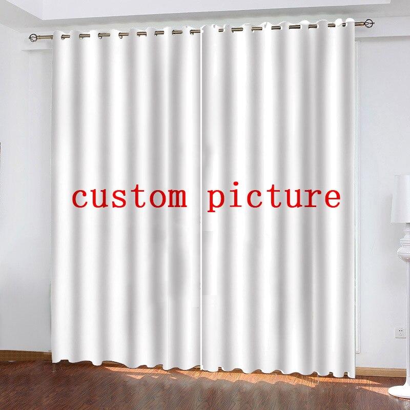 Iliterie personnalisé salon rideau étanche rideau POD personnalisé Photo Polyester décor avec crochets 1 ensemble-in Rideaux from Maison & Animalerie    1