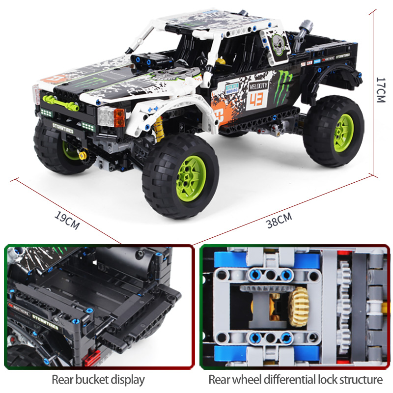 1090Pcs Technic City Off Road Vehicle Model Building Blocks SUV RC/non-RC Racing Car Truck Bricks for Toys Boys 2