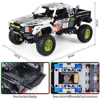 1090Pcs Technic City Off Road Vehicle Model Building Blocks SUV RC/non-RC Racing Car Truck Bricks for Toys Boys 2