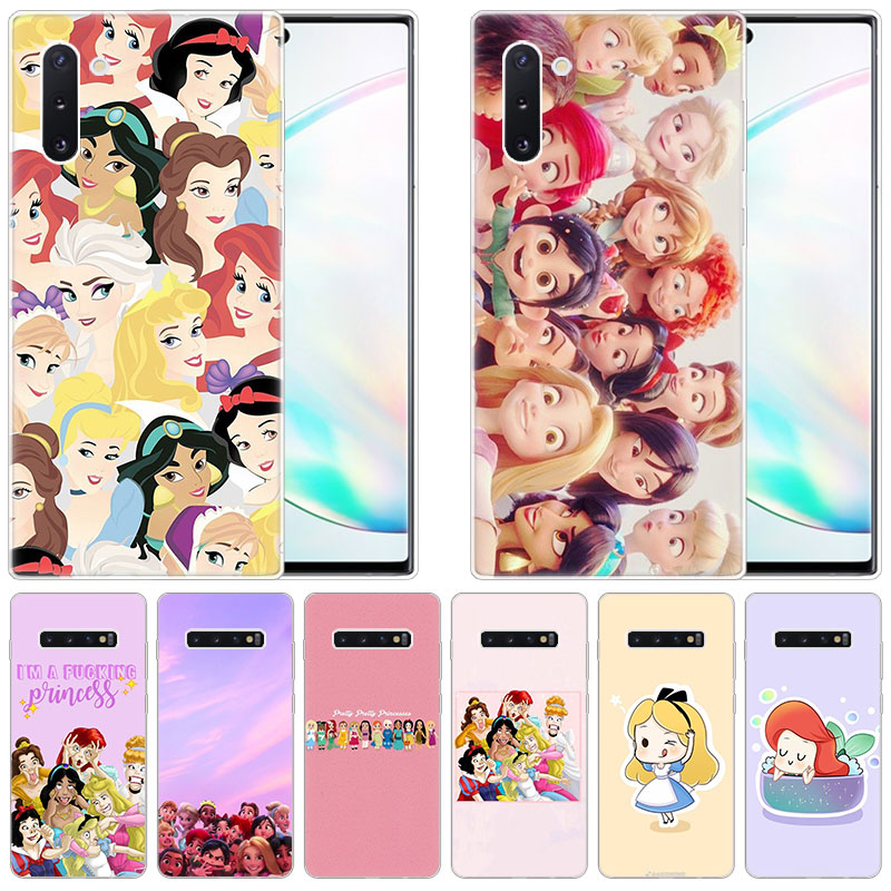 Nette Cartoon prinzessin Silikon Fall für <font><b>Samsung</b></font> Galaxy Note 10 Pro 9 8 5 M30S M40 S10E S10 5G s9 S8 Plus <font><b>S7</b></font> S6 Rand S5 Abdeckung image