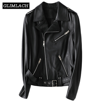 Lady Luxury Real Leather Motorcycle Jacket With Belt Multi Zippers 100% Sheepskin Genuine Leather Short Coat Women Black Slim multi zippers genuine leather jacket women streetwear motorcycle 100