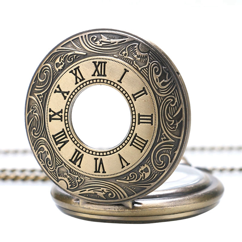 Antique Vintage Bronze Roman Number Necklace Quartz Pocket Watch Analog Chain Pendant Birthday Christmas Gifts For Men Women