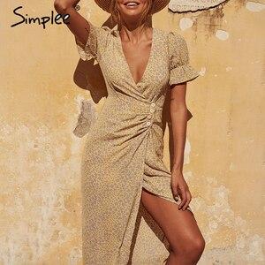 Image 2 - Simplee 플로랄 프린트 여성 드레스 짧은 소매 단추 높은 허리 여름 드레스 숙녀 v 목 boho 비치웨어 bodycon 드레스 2020
