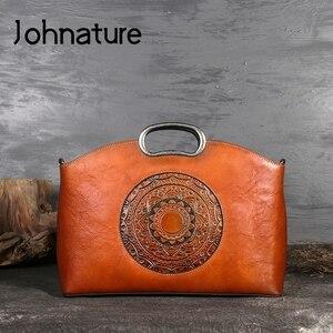 Image 3 - Johnature女性高級ハンドバッグ本革トートバッグレトロ手作りトーテム牛革女性のバッグ大容量ショルダーバッグ